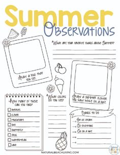 Summer Nature Study for Kids - Natural Beach Living Preschool Science Activities, Nature Activities, Summer Activities, Nature Scavenger Hunts, Natural Ecosystem, Free Printable Worksheets, Scientific Method, Problem Solving Skills, Nature Study