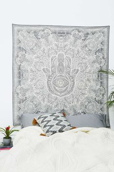 Fatima Hand Hamsa Wall Hanging Twin Tapestries Bedspread Throw Ethnic Decor_TYD
