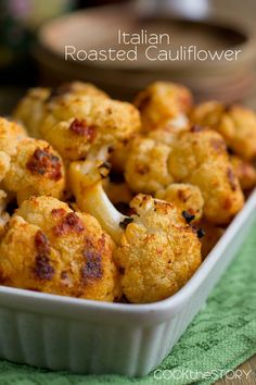 Italian Roasted Cauliflower, easy and delicious! Take out the Parmesan so Mark can eat all of it.