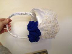 Winter wedding flower basket horizon blue white lace