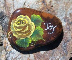 Hand Painted Idaho River Rock Paper Weight Rose Joy | eBay