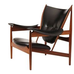 Finn Juhl // Chieftain Chair // 1950s // Early edition Baker chair. What makes this model remarkable is that it was made to Niels Vodder's specifications, and shared distinct similarities to the cabinetmaker's construction; hammered plate steel arms with leather applied directly to the surface. The joinery of the 'horns' also shows the same Vodder 'step'. This early chair is nothing short of exquisite. Later Baker productions broke from the cabinetmaker's form and are lesser quality.