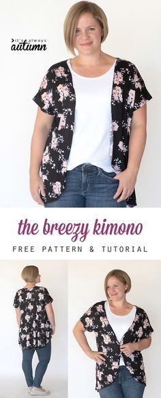 this easy to sew DIY women's kimono comes together in less than an hour with just one yard of fabric using a free tee pattern. easy to follow photo instructions.