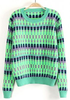 Green Plaid Color Block Collarless Thick Blend Sweater