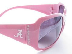 Support Your Alabama Crimson Tide with these comfortable, stylish, and fashionista forward Womens Pink Frame Clear Crystals Sunglasses. Shout to everyone where your pride lies without even saying a word wherever you go. They feature NCAA officially Licensed Logos, Scratch Resistant Lenses, Pink Frame, Clear Crystals, UVA 400 Protection, and UVB 400 Protection. Support your team and show your pride with these officially licensed Alabama Crimson Tide Sunglasses