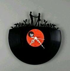 Cute romantic love clock - recycled vinyl record.
