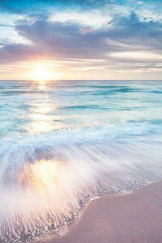 Waves on Beach in sunrise(set). Beautiful Sunset, Beautiful Beaches, Beautiful World, Beautiful Dream, Ocean Beach, Ocean Waves, Ocean Sunset, Pastel Sunset, Beach Sunrise
