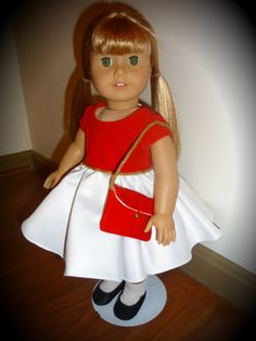 "This is my version of Skipper's ""Silk and Fancy"" from 1964. I drafted the original pattern and the outfit was sewn by me, Sewbig. It is modeled by my #38 American Girl Doll, Skipper."
