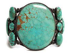 Cuff | Designer ? (Navajo)  Silver and Carico Lake Turquoise.  ca. 1970s