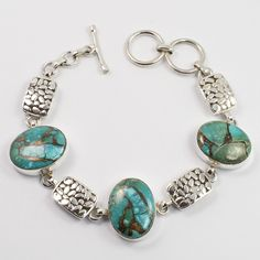 925 Sterling Silver BLUE COPPER TURQUOISE Gemstones Marvelous Bracelet Handmade #Unbranded #Chain