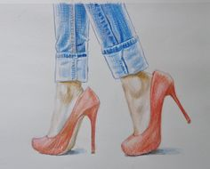 In this video, I am going to draw feet in red high heels and blue jeans. Hope you like it.