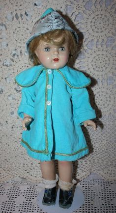 Blue Corduroy Coat and Bonnet 1940s