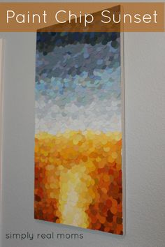 DIY art out of paint chip samples! I think my mom could hook this too... @Paulette Studards Pelley @Rhonda Alp Thompson