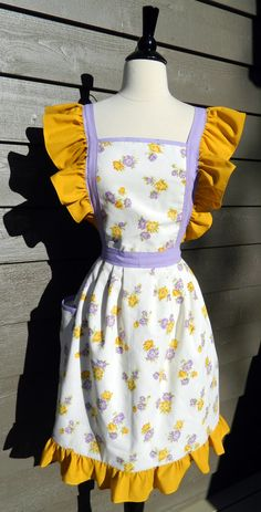 UpCycled Apron  Lavender and Gold Floral with by DrapesofWrath, $40.00