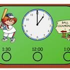 What Time Does The Game Start?   Telling Time To The Hour and Half Hour     This SmartBoard Baseball Themed lesson will teach the First Grade Common Core Standard: Tell time from an analog clock to the hour and half hour.