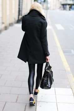 shiny leggings and sneakers