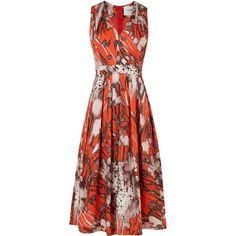 L.K. Bennett Cortona Printed Dress (4,470 MXN) ❤ liked on Polyvore featuring dresses, orange, sale, cotton dress, floral print midi dress, midi dress, floral shift dress and floral midi dress