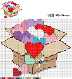 Box of Hearts x-stitch Cross Stitching, Cross Stitch Embroidery, Cross Stitch Patterns, Just Cross Stitch, Cross Stitch Heart, Heart Patterns, Loom Patterns, Pixel Art, Cross Stitch Pictures