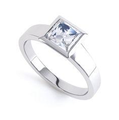 Ultramodern Fully Bezel Set Princess Diamond Ring