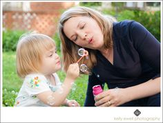 Natural light family portraits with kids and bubbles in Springfield VA