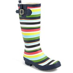 """BP. 'Splash' Rain Boot, 1"""" heel featuring polyvore, fashion, shoes, boots, mid-calf boots, multi stripe, mid boots, short heel boots, wellington boots, bp. boots and stretch boots"""
