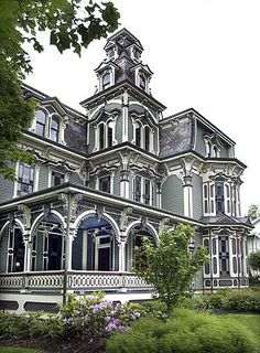Montgomery Mansion, Claysville, PA - Built in 1879-1880 by Robert Porter, an owner of the local lumber yard, as a gift for his fiancé prior to their pending marriage. Unfortunately, Mr. Porter's fiancé died before the wedding, so in the early 1900s, the house was sold to John Nelson Montgomery, Sr. His son, John Jr. married Grace Clarke in the early 1900s. Moving into the mansion with John's parents after their wedding, Grace lived in the house until her death in the early 1970s.