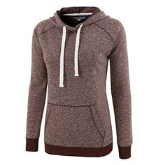 HARBETH Women Fashion CottonPoly Vintage Soft Fleece Long Sleeve Hoodies Sweats Brown Melange S >>> Want additional info? Click on the image.