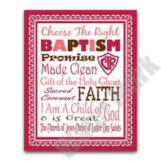 Baptism Subway Art  Girl Colors  Printable art print pink and brown