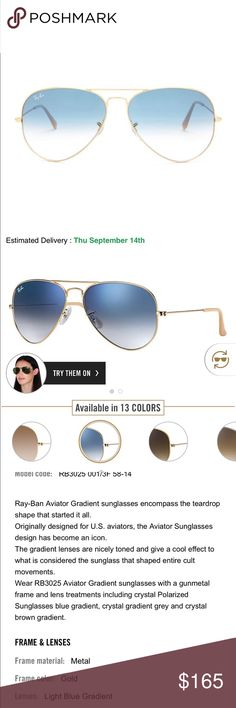 3ce8f64b65d19 Brand new 100% authentic ray-ban Aviator grandient RB3025 001 3F 58-