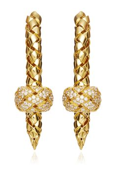 18K Yellow Gold And Diamond Knot Earrings by Wilfredo Rosado - Spring-Summer 2015 (=)