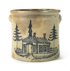 A FIVE GALLON DOUBLE HANDLED COBALT-DECORATED STONEWARE CROCK WITH CHURCH AND TREES IMPRESSED MARK OF A.O. WHITTEMORE, HAVANA, NEW YORK, SECOND HALF 19TH CENTURYhttp://www.christies.com/