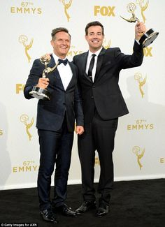 Big win: Producer Mark Burnett and host Carson Daly show off their Emmys after The Voice won Outstanding Reality-Competition Program at the 2015 Emmys on Sunday