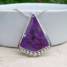 Sterling Silver Purple Mojave Turquoise Pendant Necklace, Freeform Triangle Purple Pendant, Purple Kingman Turquoise, Hidden Heart