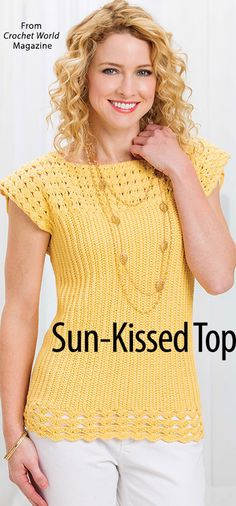 Sun-Kissed Top from the June 2016 issue of Crochet World Magazine. Order a digital copy here: https://www.anniescatalog.com/detail.html?prod_id=131292