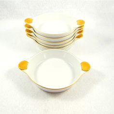 Georges Briard Coquille D'Or Set of Six au Gratin Dishes from 1960s ($62) ❤ liked on Polyvore featuring home, kitchen & dining, cookware and georges briard