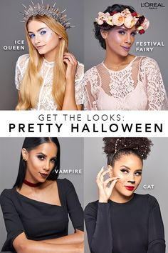 Four pretty Halloween looks that you must try • The Ice Queen, Festival Fairy, Vampire & Cat looks are sure to turn heads.