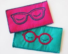 Embroidered Felt Glasses Case