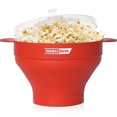 Premium Microwave Popcorn Popper by Thomas Rush - One of the Best Air Popcorn Maker for Home - Easy to Use - Healthy Choice - Platinum Silicone - 10 Year Warranty: Kitchen & Dining Perfect Popcorn, Best Popcorn, Homemade Popcorn, Popcorn Recipes, Hot Air Popcorn Popper, Air Popcorn Maker, Microwave Popcorn Bowl, Specialty Appliances, Cooking Tools