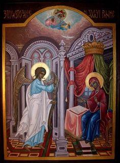 ΜΡ.ΘΥ__Ευαγγελισμός της Υπεραγίας Θεοτόκου _ march 25 (Ikona Przemek Babiarz Portfolio Religious Icons, Religious Art, Byzantine Icons, Orthodox Icons, My Portfolio, Triptych, Madonna, Worship, Nativity