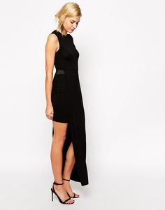 Image 1 of ASOS Body-Conscious Dress with Double Layer Asymmetric Hem