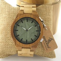 BOBO BIRD 2016 New Arrival Men's Bamboo Wood Wristwatch Ghost Eyes Genuine Leather Strap Glow Analog Watches with Gift Box Like and Share if you want this  #shop #beauty #Woman's fashion #Products #Watch