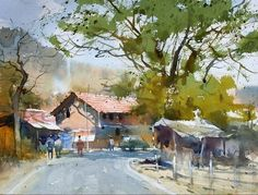 watercolor paintings landscape india - Google Search