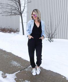 Casual spring outfit, distressed light denim jacket, black jumpsuit, adidas superstars, DIFF eyewear sunnies, tiaras and heels blog