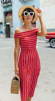 amazing summer outfit_hat + retro sunglasses + striped off shoulder dress + bag
