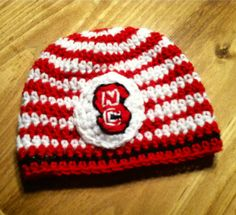 Zebra Stripe NC State Inspired Crochet Hat by HookLineandStinkers, $24.00