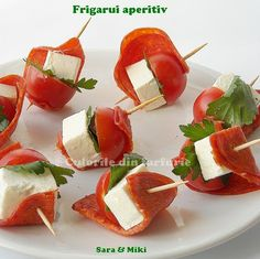 appetizer skewers: dry salami, cherry tomatoes, goat cheese & parsley