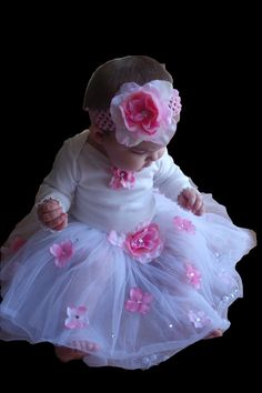 Baby Girl 1st birthday outfit -Birthday Tutu and Headband- 1st birthday dress- 3 piece set Girls Baby