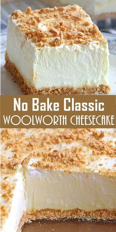No Bake Woolworth Cheesecake is a classic, light and lemony dessert and will be ., Desserts, No Bake Woolworth Cheesecake is a classic, light and lemony dessert and will be the perfect addition to your Easter or Mother's Day menu! No Bake Desserts, Easy Desserts, Delicious Desserts, Yummy Food, Cheesecake Desserts, Healthy Desserts, Cream Cheese Desserts, Coconut Cheesecake, Baking Desserts