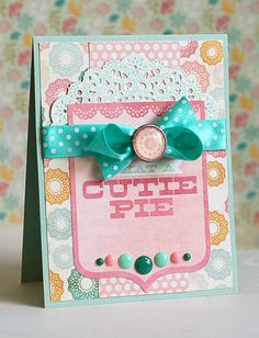 Supplies:The Sweetest paper pad, die cut title,decorative brads,enamel dots; Handmade Birthday Cards, Greeting Cards Handmade, Kids Cards, Baby Cards, Scrapbooking, Scrapbook Cards, Tarjetas Diy, Card Sketches, Cute Cards