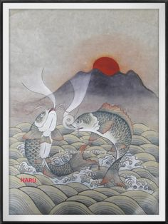 민화ㅡ어해도약리도태양 ㅡ분채 양홍과 주를 섞어 표현 물결ㆍ잉어ㅡ등황에 호분을 섞어 칠한 후 봉채본남... Korean Painting, Japan Art, Oriental, Art Deco, Asian, Traditional, Murals, Illustration, Tattoo Ideas